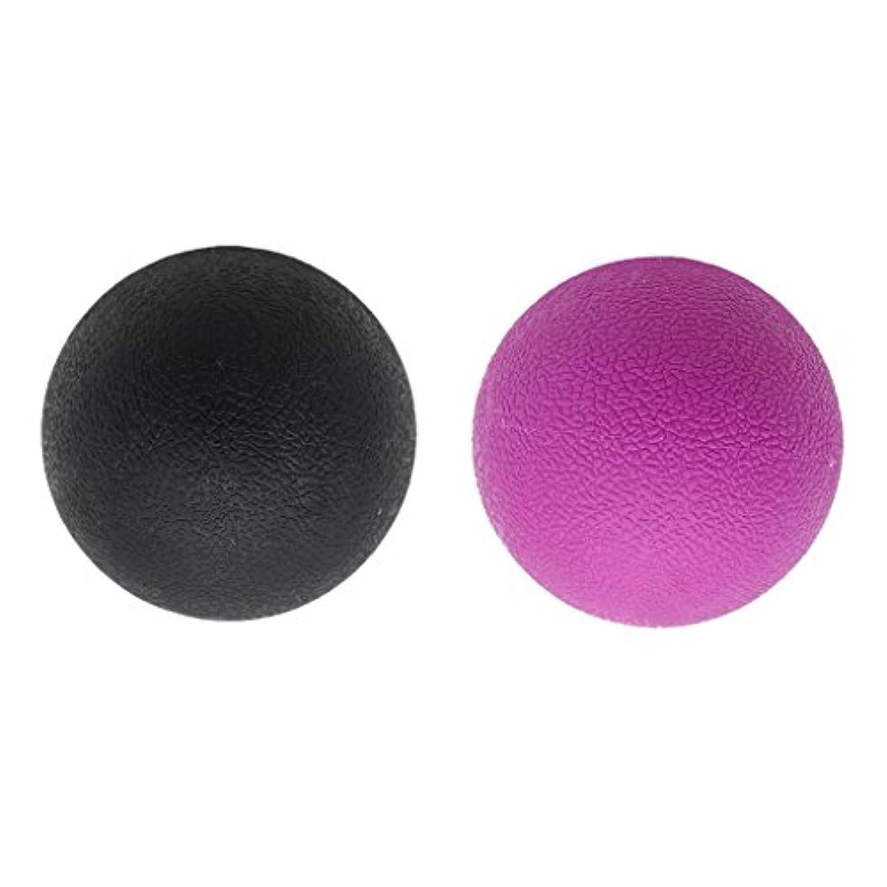 レビューパスタ説明する2個 マッサージボール ラクロスボール トリガ ポイントマッサージ 弾性TPE 多色選べる - ブラックパープル