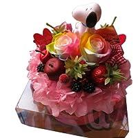 誕生日プレゼント スヌーピー 入り 花  フラワーケーキ レインボーローズ プリザーブドフラワー入り ケース付き ◆スヌーピーカラーはおまかせです
