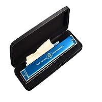 ZHIC ハーモニカ、ハーモニカ10ホールプロフェッショナルレベル、初心者練習用楽器、ブラック、ブルーD + [学習パッケージ] with Case and Polishing cloth (Color : Blue)