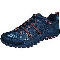 Merrell Mens Walking Trainers Mykos Jet - Black/Tiger Lily Synthetic -, Black/Tiger Lily (Black), 8.5 AU