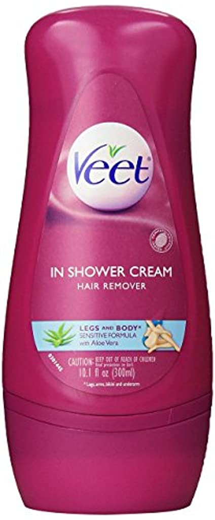 不正直航空会社一貫性のないVeet in Shower Hair Removal Cream Sensitive Formula Aloe Vera 300 ml [並行輸入品]