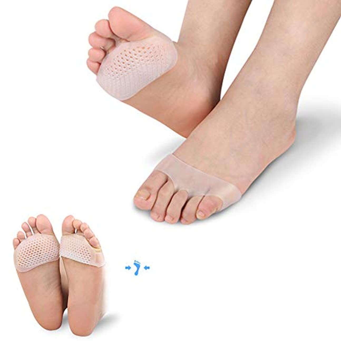 ロマンス上院議員むき出し5ペアシリコンつま先セパレータ痛み緩和クッションソフトジェルインソール前足パッド見えない靴スリップ耐性インソールフットケア