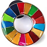 SDGs ピンバッジ SDGs バッジ 国連バッヂ (10個セット)表面が丸みのあるタイプ 正規品 SDGsピンバッチ 襟章 国連本部 留め具デラックス クラッチ30個付