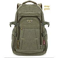 JPMD Men's Military Canvas Backpack Zipper Rucksacks Laptop Travel Shoulder Notebook Schoolbags Vintage College School Bags (Color : Army Green)