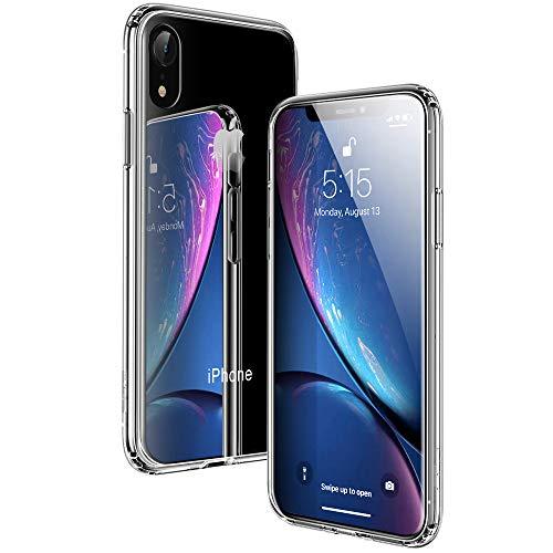 ESR iPhone XR ケース 6.1インチ 強化ガラス 9H硬度加工 ガラスケース 薄型 全透明 TPUバンパー 滑り止め 全面保護 ストラップホール付き 指紋防止 耐衝撃 ワイヤレス充電対応 ネイキッド(クリア)