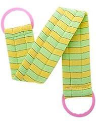 2枚のボディクリーニングのバスベルトタオル剥離するバスベルト、緑および黄色