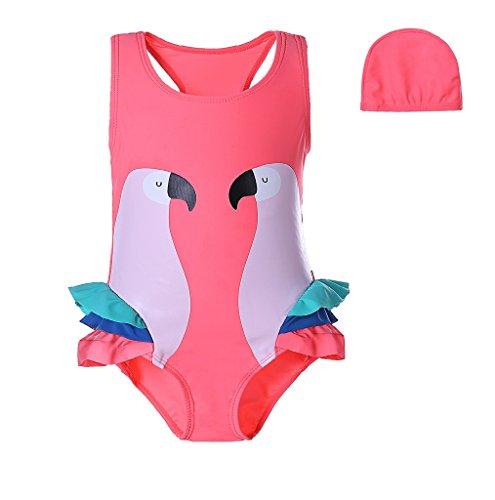 Pettigirl 子供用水泳帽付き水着 鸚鵡 プリント ガ...