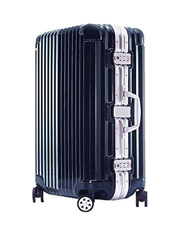 【在庫処分価格】スーツケース LM サイズ 高級PC100%ボディ セミ大型 高品質 ワイドフレーム ダブルキャスター ダイヤルロック TSA スーツケース キャリーケース キャリーバッグ ハードキャリー ネイビー