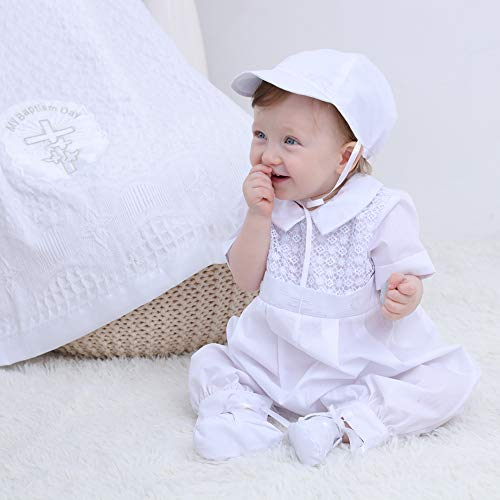Booulfi Baby Boy's 5 Pcs Set Christening Baptism Outfits - White - 3-6 Months