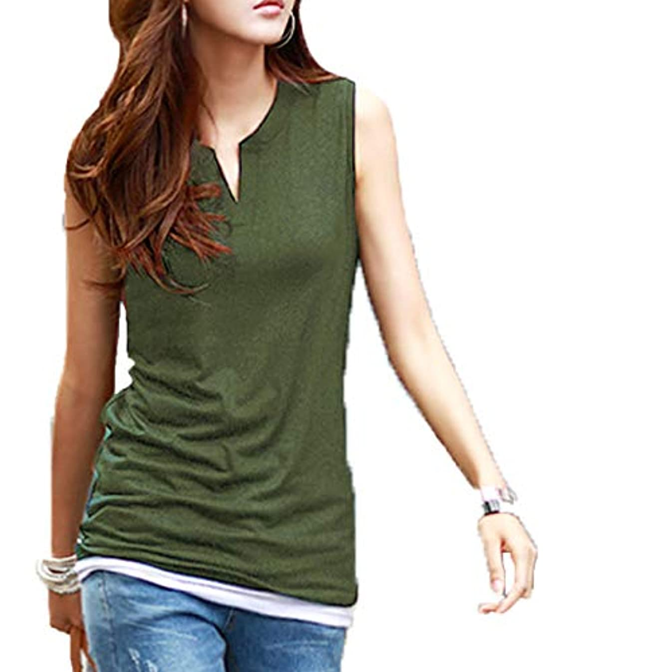 [ココチエ] 夏 Tシャツ プルオーバー レディース ブラウス ノースリーブ 半袖 V コットン 白 かっこいい かわいい おしゃれ