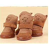 YBAA Pet Dog Christmas Shoes Winter Warm Shoes for Dog Pet Dog Chihuahua Boots Puppy Shoes for Small Dog (Color : Brown, Size : XS)