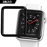 Apple Watch Series1 2 3 フィルム 38mm 最先端TPU材 3D全面保護  隅浮き防止 滑り心地抜群 気泡レス 極薄 指紋対策 Apple Watch フィルム (38mm,3枚入り)