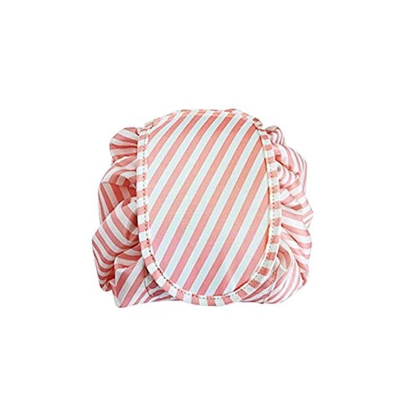 乞食実験室二層Xiton ポータブル化粧巾着袋大容量防水旅行化粧品袋のパッキングストリップ完全にラウンド1(ピンク)保存され、迅速かつ簡単に旅行トイレタリーキット