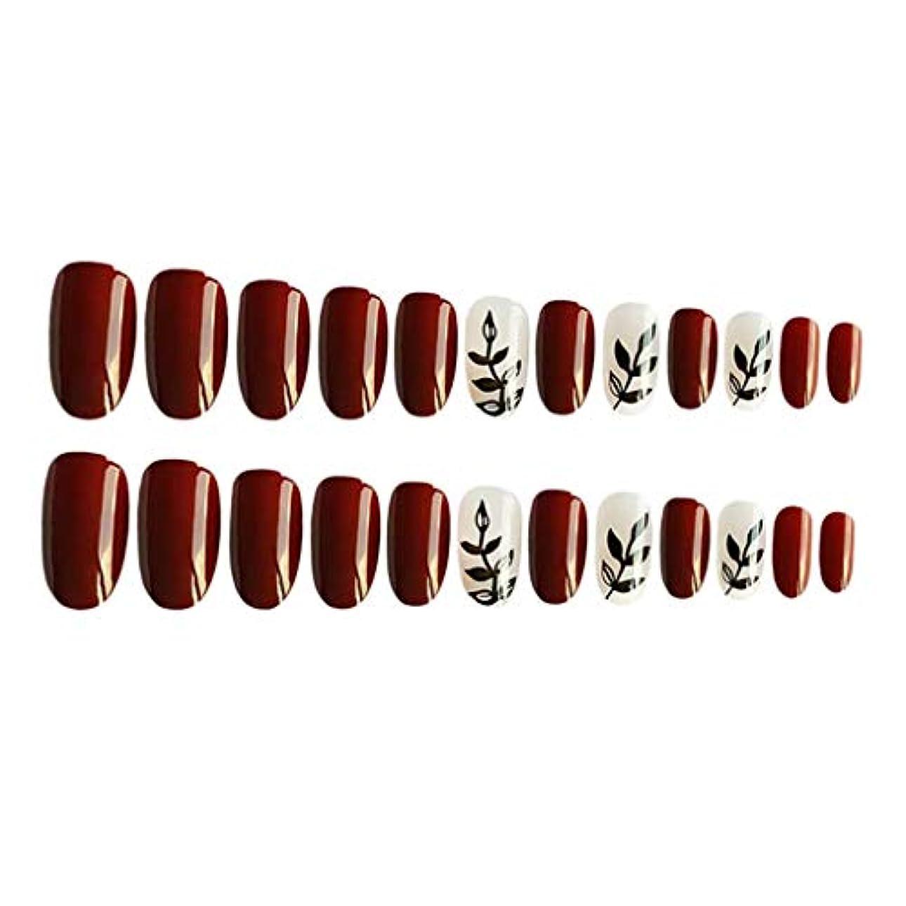 反抗関連付けるつまずくネイルチップ つけ爪 付け爪 ネイルステッカー 人工爪 ネイルアート サロン 用品 約24個入り 全4カラー - 01
