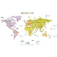 DECOWALL カラフルな世界地図 ウォール ステッカー デコ (大) DMT-1306N