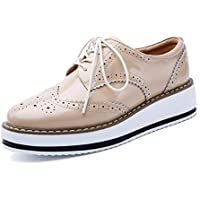 Yong Ding Women Platform Brogues Shoes Leather Retro Style Lace Up Oxfords Shoes Ladies Wedge Heel Brogues