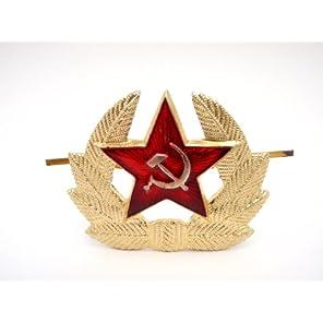 ソビエト軍 ロシア 実物 ウシャンカ用 レッドスター バッジ ☭