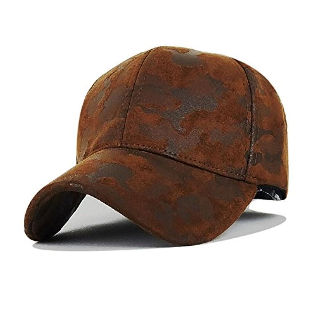 豆腐に頼る始める野生の 野球帽アウトドアスポーツメンズカモフラージュレザーPUミリタリー愛好家ダック舌キャップUVプロテクトサン帽子