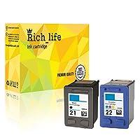 Rich_life HP21 HP22 再生インクカートリッジ交換用 HP プリンター PSC Officejet Deskjet HP FAX 2パック (ブラック1個+カラー1個)