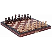 Wooden Magnetic Travel Chess Set with Mahgany Chess Board and Storage Compartment by ChessCentral [並行輸入品]