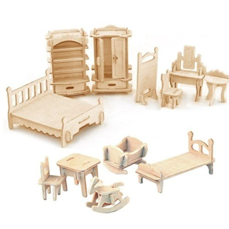 Wood Craft - Miniature wooden furniture 34SET