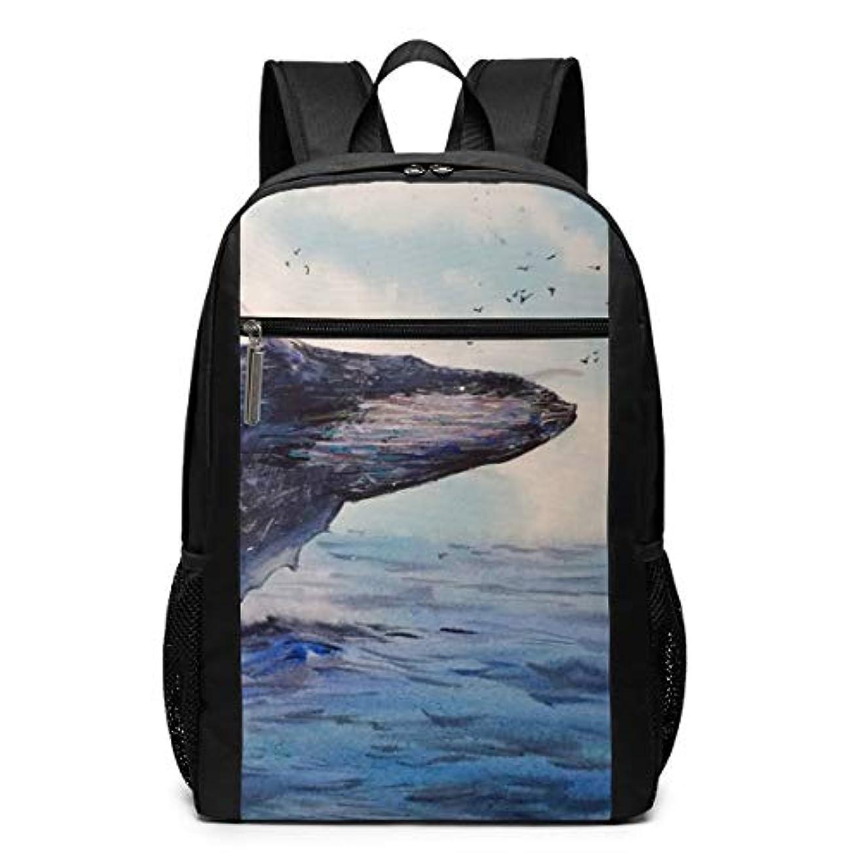 豚肉オレンジ借りているMy Life リュックサック 動物の絵 鯨 メンズ バックパック リ ュック デイパック 大 おしゃれ 出張/旅行/通勤/アウトドアに適用 大容量 多機能 人気 学生 高校生 (17インチ)