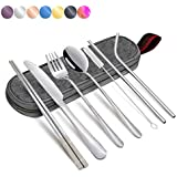 Portable Flatware Stainless Set, Silverware Travel Portable Utensils Set with Case and Straw, Straight Straw, Knife, Fork, Spoon, Chopsticks, Cleaning Brush 8 Piece Siver