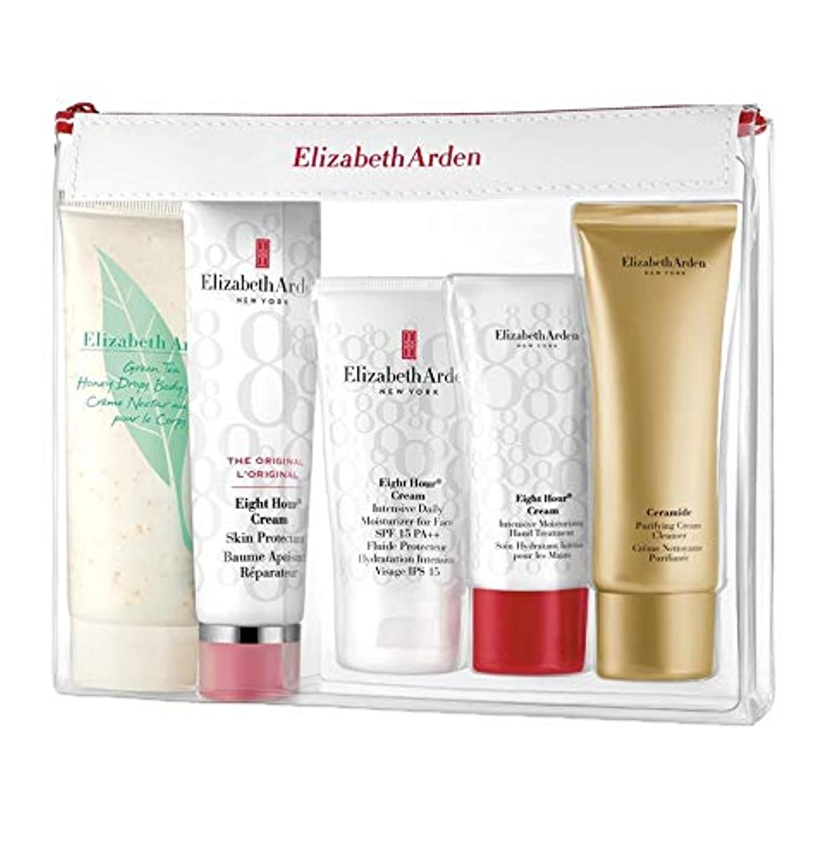 祭司ボットスキャンダルエリザベスアーデン Daily Beauty Essentials Set: Purifying Cream Cleanser+ Eight Hour Cream+ Eight Hour Cream SPF 15+ Ei 5pcs並行輸入品
