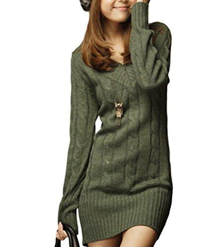Lh01agF (Galette des Rois) レディース チュニック ニット ケーブル編み 長袖 Vネック 無地 ルームウェア セーター トップス Lh01 (フリーサイズ, アーミーグリーン)