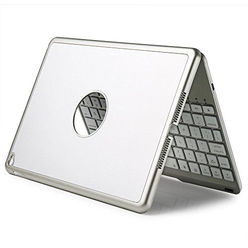 efluky Bluetoothキーボードipad air2 に対応可移動的保護SmartCover七色のLEDバックライト (シルバー)