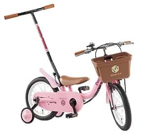 People(ピープル) いきなり自転車 2014年 ブリリアントカラー 14インチ [かじ取り式押し手棒付き、補助輪] コーラルピンク YG255