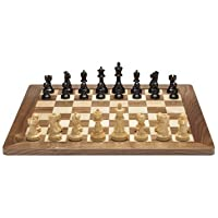 Grand Jacques Chess Set - Weighted Pieces with Solid Maple & Walnut Wood Board 20 in. (Made in USA)