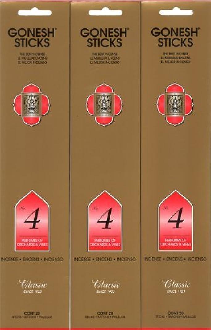 メール生産的生産性GONESH インセンス No.4 スティック 20本入り X 3パック (60本)