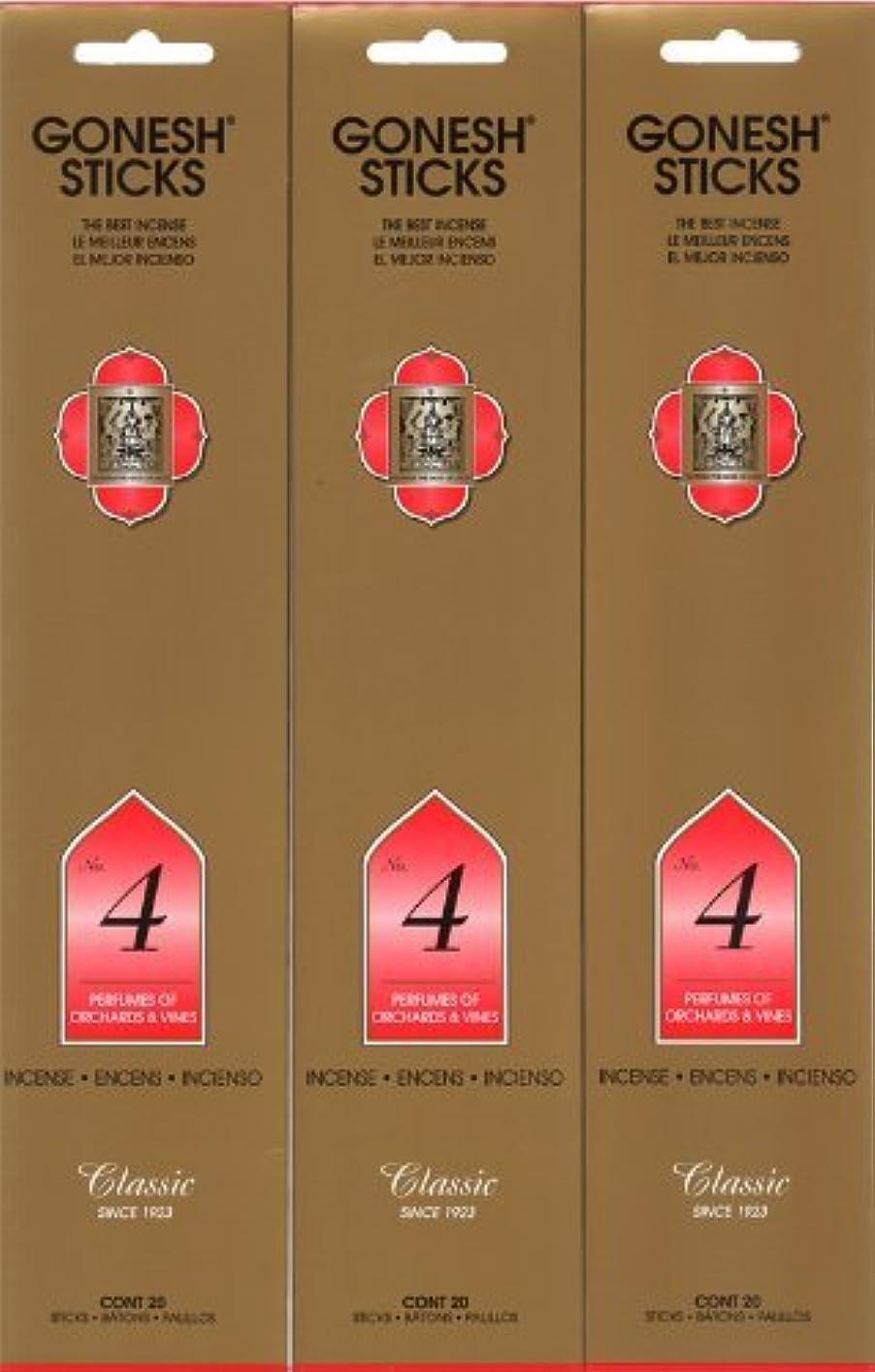 不快靴下スパークGONESH インセンス No.4 スティック 20本入り X 3パック (60本)