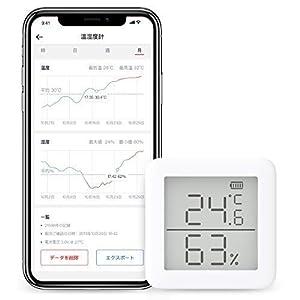 SwitchBot スイッチボット デジタル 温湿度計 スマート家電 – 高精度 スイス製センサースマホで温度湿度管理 アラーム付き グラフ記録 Alexa, GoogleHome, IFTTT対応 (ハブ必要)