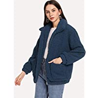 INFASHION Women's Navy Casual Zip Up Solid Teddy Jacket with Pocket