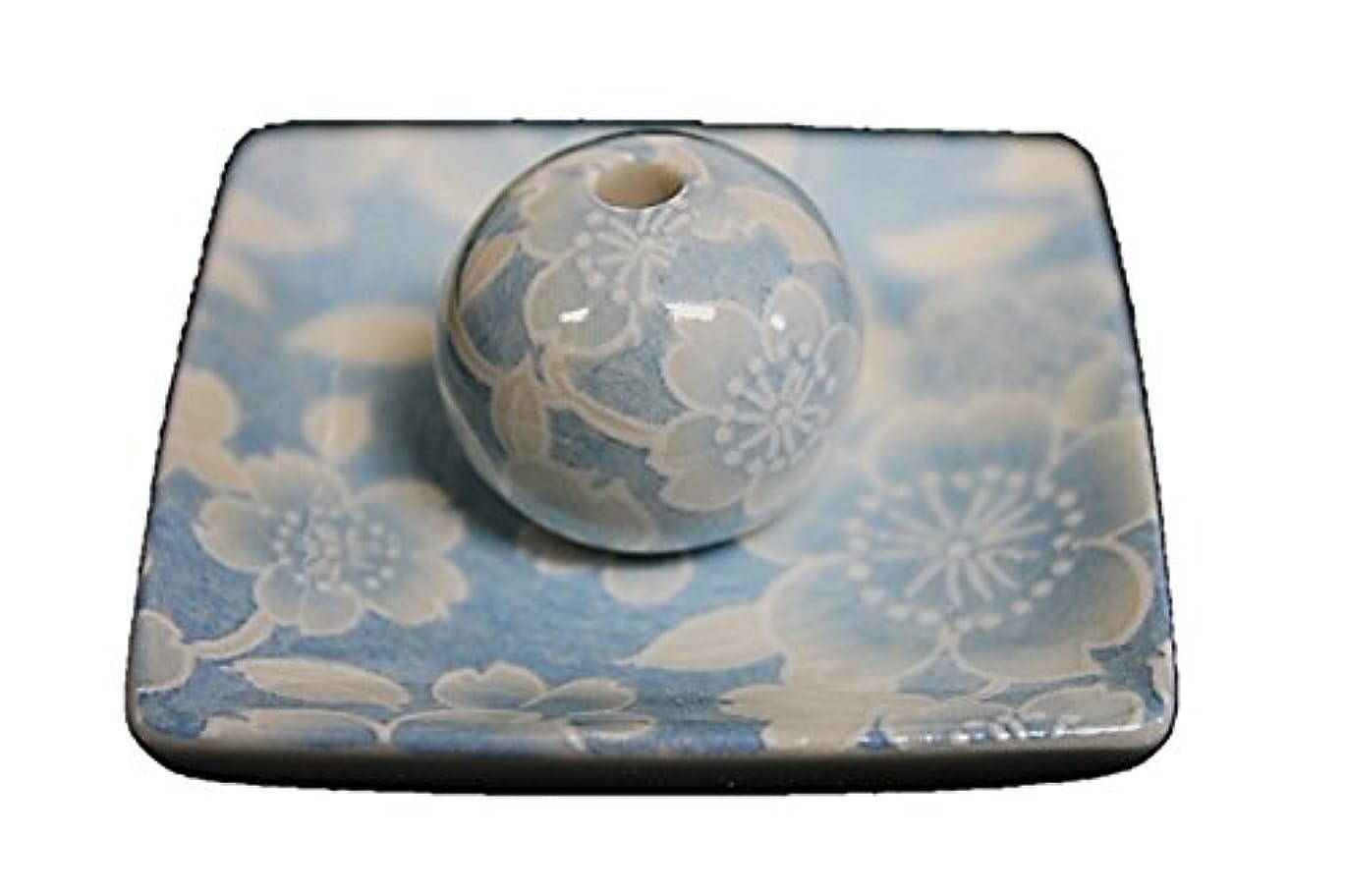 連帯芝生ガジュマル桜友禅 (水色) 小角皿 お香立て 陶器 ACSWEBSHOPオリジナル