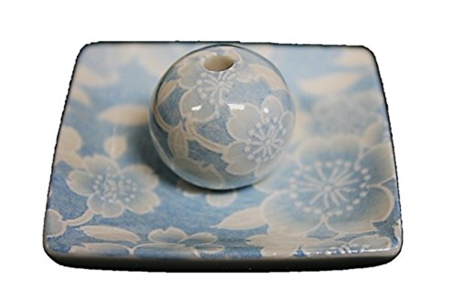 有害木製血色の良い桜友禅 (水色) 小角皿 お香立て 陶器 ACSWEBSHOPオリジナル
