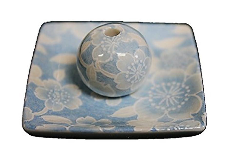 多様体従事する麻痺桜友禅 (水色) 小角皿 お香立て 陶器 ACSWEBSHOPオリジナル