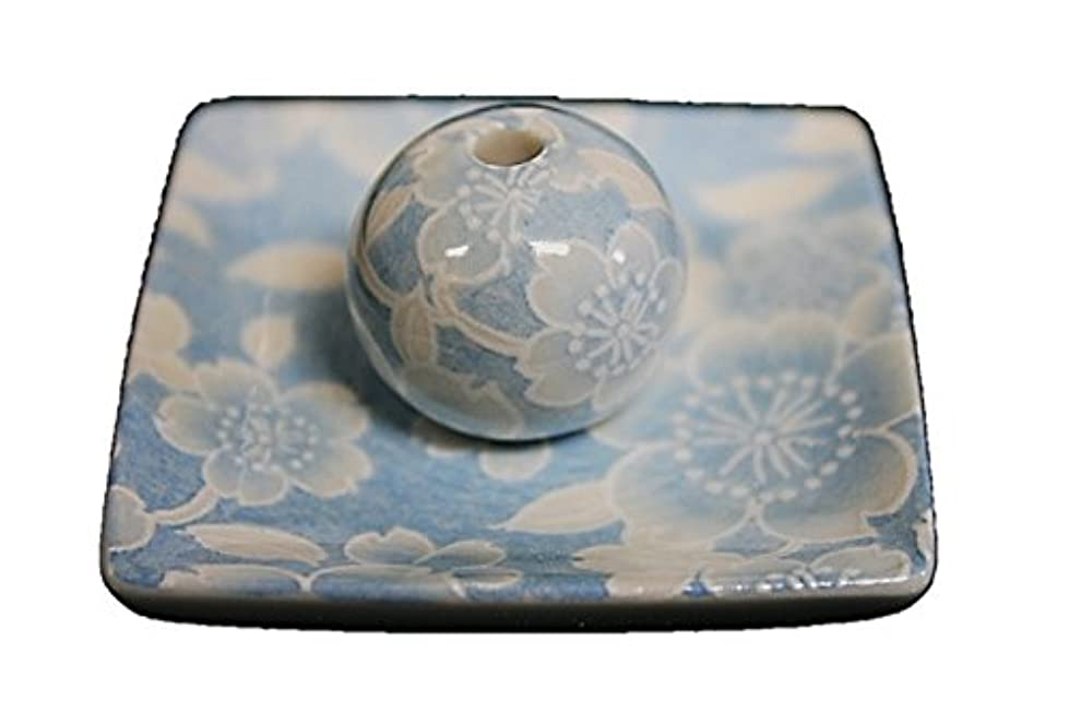 トライアスリートタイプライター飲み込む桜友禅 (水色) 小角皿 お香立て 陶器 ACSWEBSHOPオリジナル