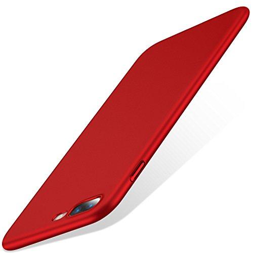 TORRAS iPhone8 Plus ケース iPhone7 Plus ケース 薄型【ガラスフィルム付き】【Qi 充電 対応】アイフォン8/7プラス用 耐衝撃 カバー (レッド)
