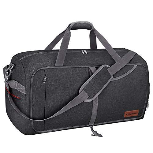 CANWAY 折りたたみバッグ ボストンバッグ スポーツバッグ 靴収納ポケット スーツケース固定 大容量 撥水加工 旅行バッグ ジム 出張 軽量 (ブラック, 85L)