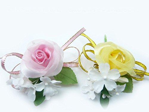 手作り・花飾り・造花◆卒業式・卒園式・入学式に! バラ1輪のコサージュキット 1個 黄色...