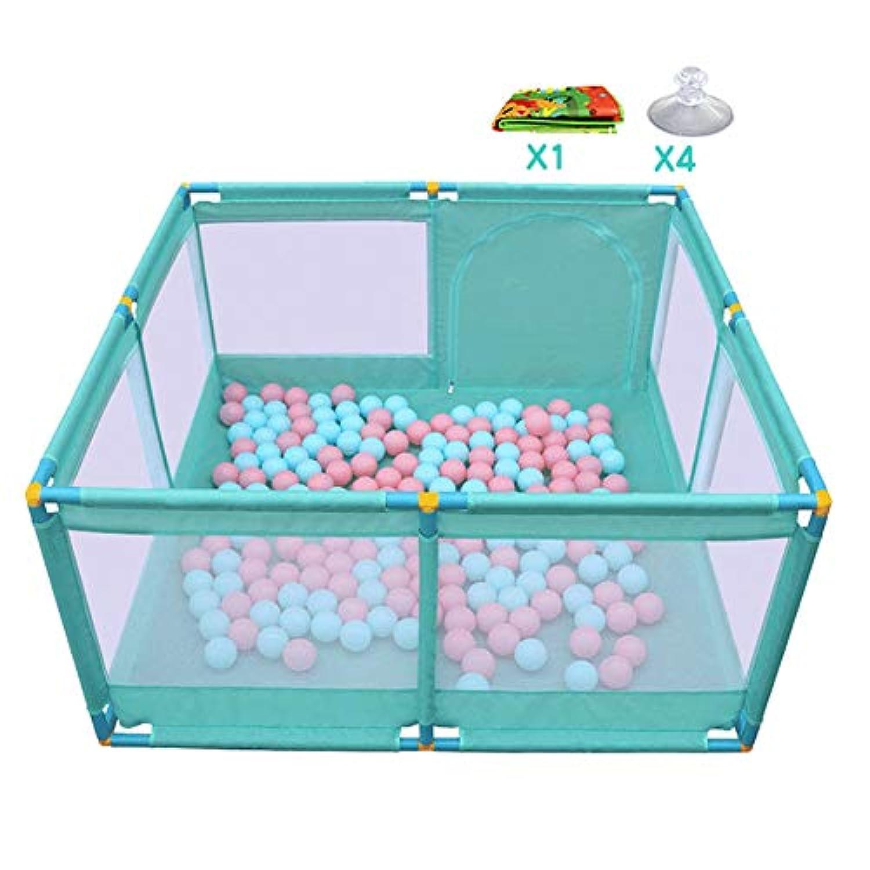 室内大型赤ちゃん遊び場8マット付きパネル、ポータブル屋外ボーイズガールズノンスリッププレイヤード幼児フェンス、グリーン