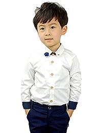 d478b66054476 Haolong 子供 ボーイズ 男の子 フォーマル シャツ キッズ ワイシャツ 白 ...