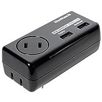 オウルテック 360°回転プラグ採用 AC/USBアダプタ USB2口(合計2.4A出力)+AC1個口(合計1500w) 各種スマートフォン タブレット対応 ブラック OWL-ACU2A1F24-BK