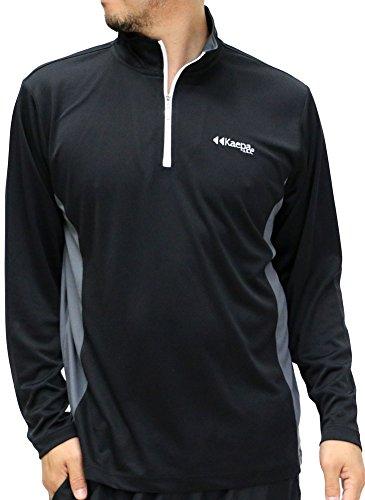 Kaepa(ケイパ) スポーツウェア Tシャツ 吸汗速乾 長袖 ハーフジップ メンズ ブラック LL