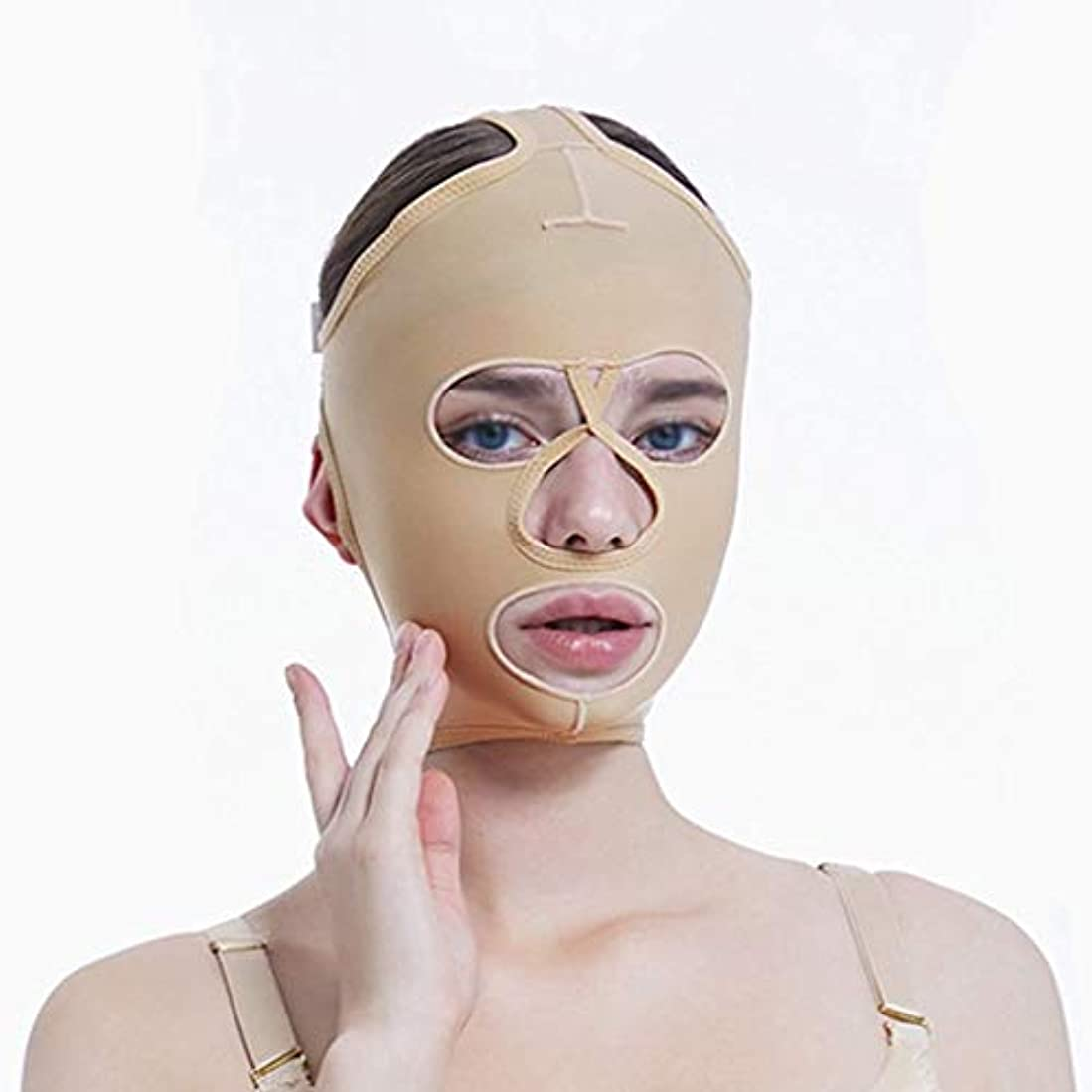 チンリフティングベルト、超薄型ベルト、引き締めマスク、包帯吊り、フェイスリフティングマスク、超薄型ベルト、通気性(サイズ:L),M