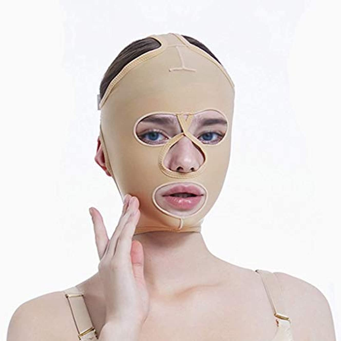 耳飛行機マントルチンリフティングベルト、超薄型ベルト、引き締めマスク、包帯吊り、フェイスリフティングマスク、超薄型ベルト、通気性(サイズ:L),ザ?