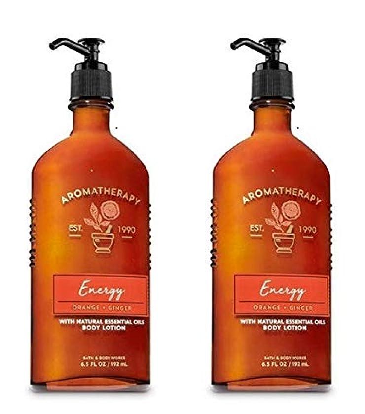 美しい溶かす俳句Bath & Body Works アロマエナジー - オレンジ+ジンジャーボディローション、6.5液量オンス、2枚組